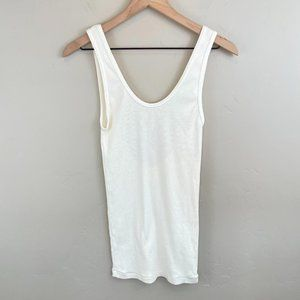 LA Made ivory low back ribbed scoop neck tank OS